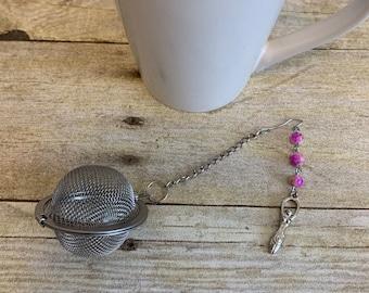 Pink and green spiral goddess tea infuser, goddess tea diffuser, witch tea diffuser, pagan tea diffuser, wiccan tea diffuser, occult tea