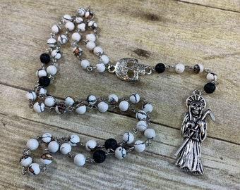White black and orange Santa Muerte rosary, Santisima Muerte, nuestra senora de la Santa Muerte, holy death rosary, saintly death rosary