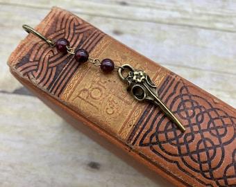 Brass and garnet bird skull bookmark, goth bookmark, occult bookmark, gothic bookmark, bird bookmark, raven bookmark, plague doctor bookmark