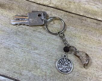 Brown jasper libra keychain, crystal keychain, moon keychain, astrology keychain, zodiac keychain, essential oil keychain, Libra gift
