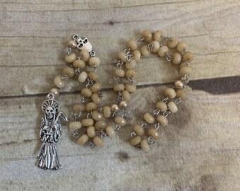 Yellow stone santa muerte rosary, santisima muerte rosary, nuestra senora de la santa muerte, sacred death rosary, holy death rosary