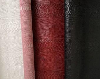 scraps of white matt embossed snake calf leather