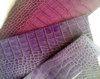 Croco embossed leather scraps