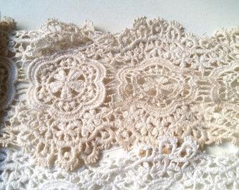 Galon-guipure #floral #coton #blanc or #beige