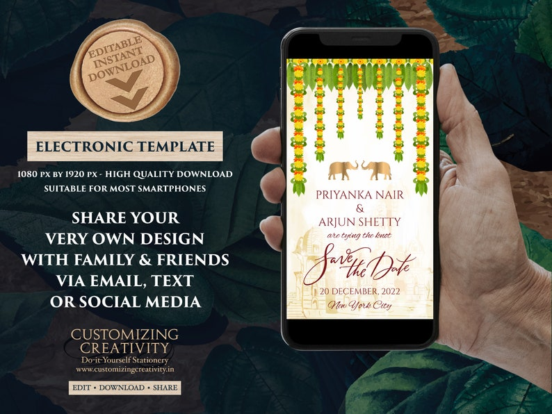 South Indian Save the date Digital as Tamil Wedding Save the dates Hindu Save the date Kalyanam /& Telugu Wedding Save the Date Electronic