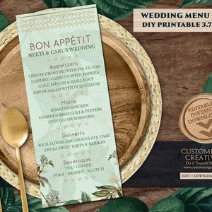 Indian Menu card template /& Dinner Menu Indian Wedding Wedding Table Menu Card as Fall Table Menu Rehearsal Dinner Menu Fall Wedding Lunch