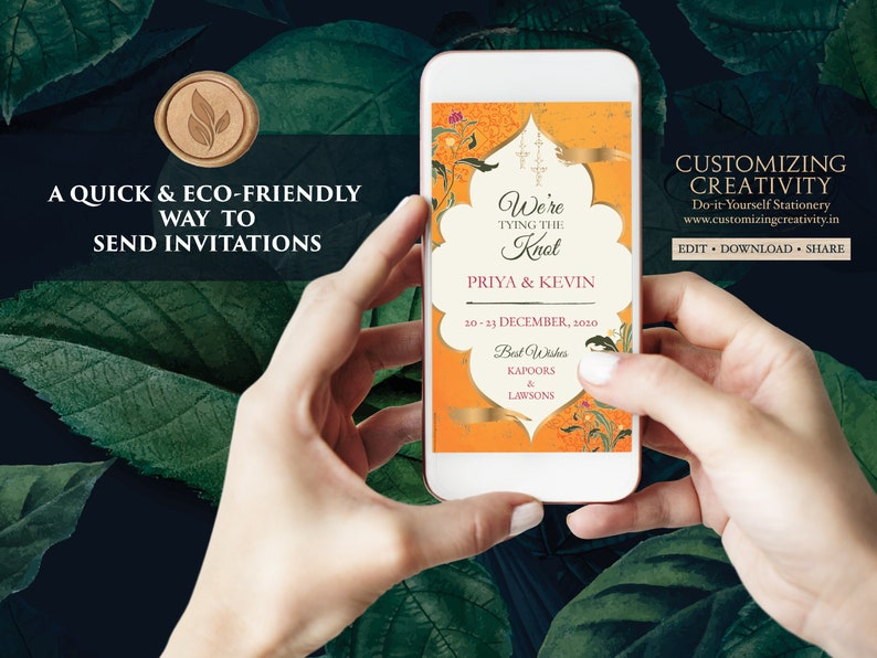 Moroccan Save the Date Arabic /& Muslim Save the Date Nikkah invite Royal Save the date Digital as Orange Save the Date Indian Traditional
