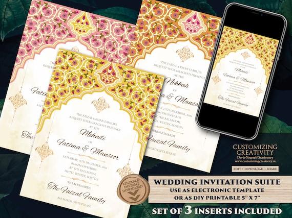 RSVP /& Thank You Cards Customizable Printable Digital Download Set of Nikah Wedding Invitation