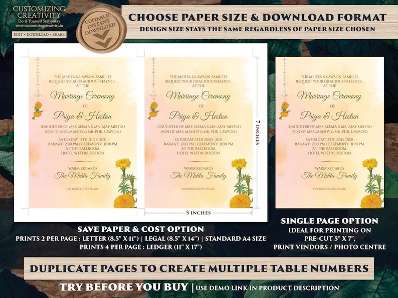 Marigold invites Wedding as Indian invitations Marigold Orange Wedding card /& Shaadi card Hindu Hindu invitations Marigold Indian Wedding