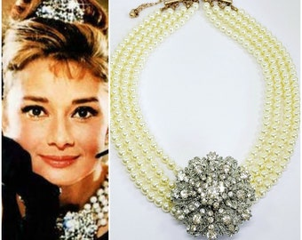 a5ea532f8 AUDREY HEPBURN Chunky Pearl Choker, 4 Row Pearls Necklace & Rhinestone ,  Statement Necklace ,Layered Pearl Choker