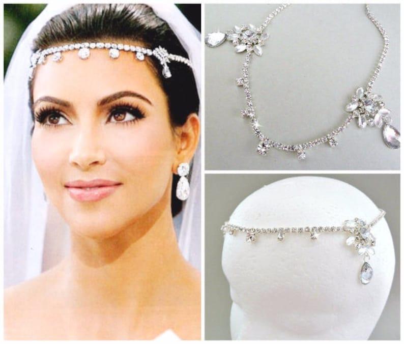 SALE Kim Kardashian inspired Crystal Bridal Headpiecewedding image 0