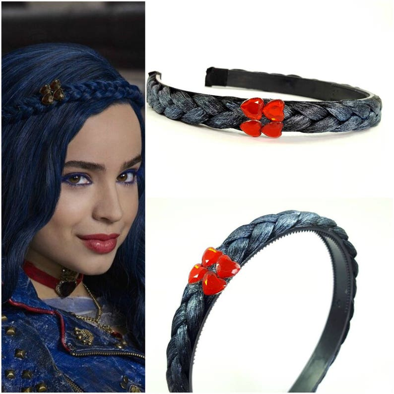 Disney Descendants 2 headpiece ,Evie Blue braid Headpiece , Evie costume,  Descendants Headpiece ,Evie blue braid Headband With Red Heart