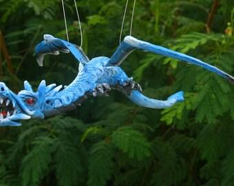 Blue Fantasy Flying Dragon Sculpture Dragon Mobile Collectible Decor