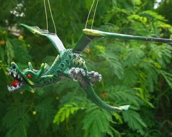Green Fantasy Flying Dragon Sculpture Dragon Mobile Collectible Decor