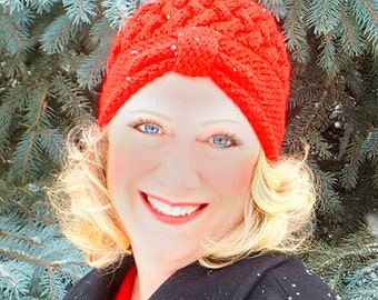 Red Flapper Hat Hand Knit, Red Cloche Hat, Hand Knit Red Hat