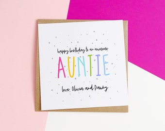 Personalised Auntie Birthday Card For From Nephew Niece Awesome