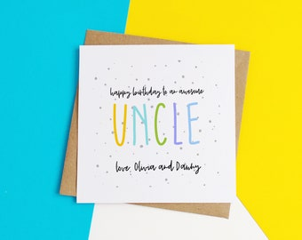 Personalised Uncle Birthday Card For From Nephew Niece Awesome