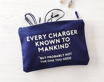 Charger Bag, Birthday Gift, Cable Storage, gift for him, gift for boy, travel bag, cable bag, holiday bag, overnight bag, zippered bag