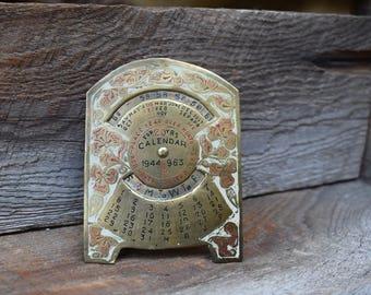 Vintage Perpetual Calendar, Metal Calendar, 40s Metal Calendar