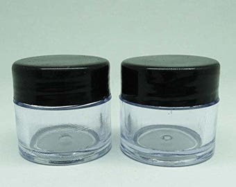 Refillable Solid Perfume Lip Balm Jar, Empty Cosmetic Storage Container, Wholesale Jar, Clear Plastic Jar With Black Cap 10 Gm BOT52A