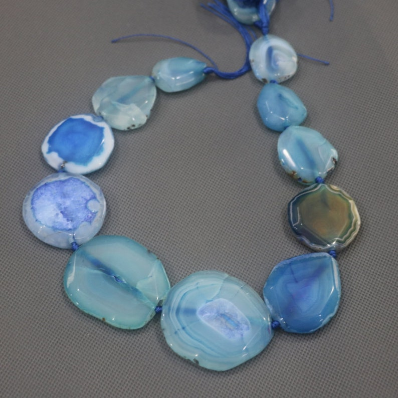 Full Strand Druzy Agate Manao 9pcs Natural Blue Gemstone Beads Jewelery Connector Oval Shape Middle Grilled Necklace Point Pendant