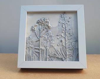 Box framed Rock garden plants Plaster Cast Tile, botanical bas-relief.