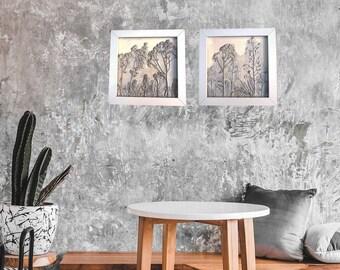 Set of 2 Box framed Alpine garden plants Plaster Cast Tiles, botanical bas-relief.