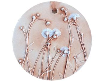 Round Daisies Plaster Cast Tile, botanical bas-relief.