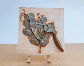 Pea Plaster Cast Tile, botanical bas-relief.