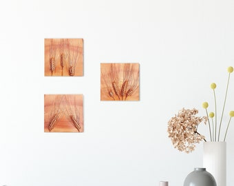 Set of 3 Barley Grass Cast Tiles, botanical bas-relief.