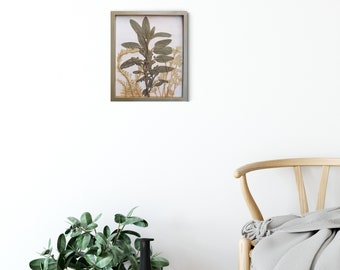 Box framed  Herb garden Tile, botanical bas-relief.