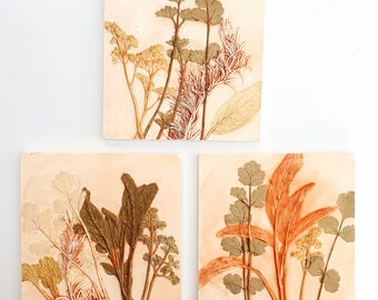 Set of 3 Herbs Plaster Cast Tiles - Coriander, Parsley, Rosemary, Sage. Botanical bas-relief.