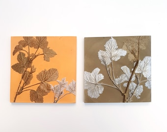 Set of 2 Wild Thorn deep buff and sage colours Plaster Cast Tiles, botanical bas-relief.