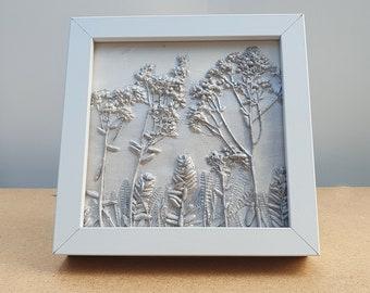 Box framed Alpine garden plants Plaster Cast Tile, botanical bas-relief.
