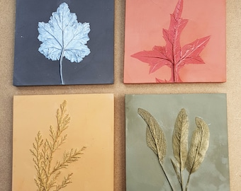 Set of 4 colours leaves Plaster Cast Tiles, botanical bas-relief.