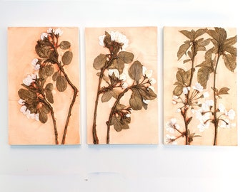 Set of 3 Apple and Cherry Trees  Plaster Cast Tiles, botanical bas-relief.