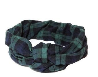 headband tie tartan headwrap, turban tie, winter scarf, tartan check turban turban headband