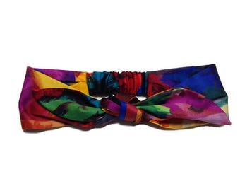 headband tie headwrap, turban tie, multicolored turban