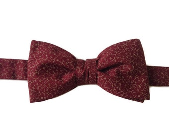 bow tie, bowtie, burgundy bow tie, pre-knotted bow tie, male gift