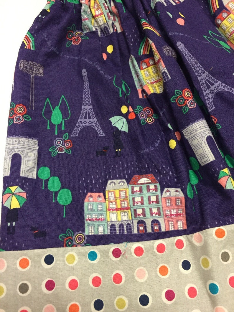 Modern Girls Twirly Skirt Rainbows and Rain in France