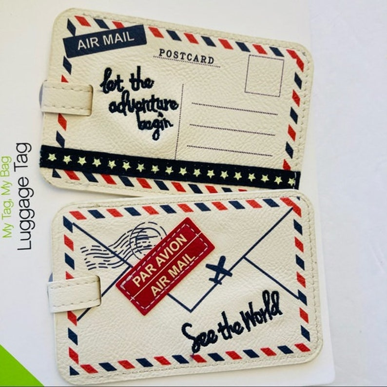 2 creambluered vegan leather air mail envelopes luggage tags new