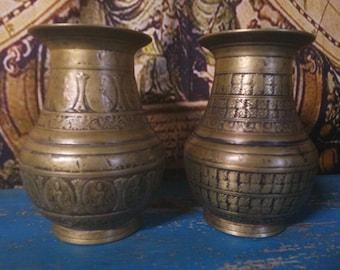 Pair of Antique Bronze Nepalese Ceremonial Vases