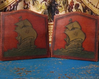 Vintage Tooled Leather Galleon Bookends