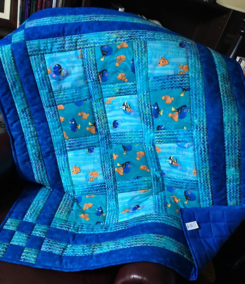 Custom-made from FInding Nemo Dory Craft Fabric Quilt Comforter Throw Baby Child Toddler