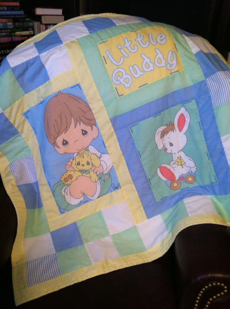 Custom Boy Baby Toddler Lap Quilt Blanket Throw Comforter w Precious Moments Fabric Panels
