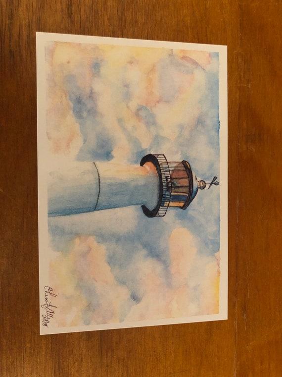 Biloxi Lighthouse Watercolor Print Etsy
