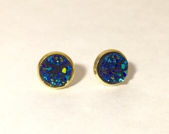 10mm druzy earrings in cobalt blue