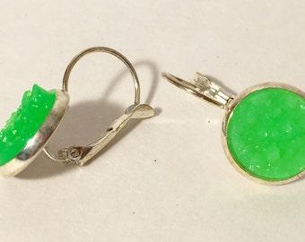 12mm lime green druzy earrings in silver leverback settings
