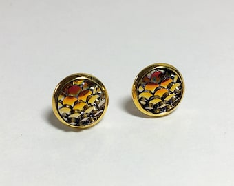 8 mm fish/mermaid scale earrings with gold settings