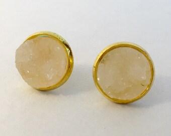 12mm white  druzy earrings in gold settings